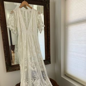 White, lined, lace long dress